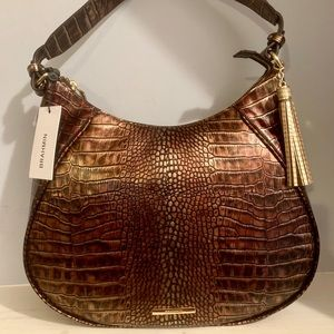 Brahmin Amira Brown Milan Metallic Shoulder Bag
